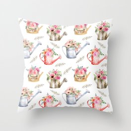 Garden watering cans and flowers. Vintage pattern Throw Pillow