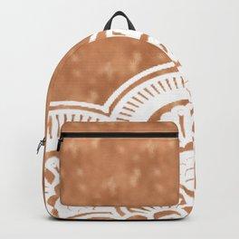 White mandala on copper Backpack