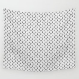 Tiny Paw Prints - Grey on Light Silver Grey Wall Tapestry