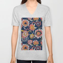 Bold Chinoiserie Floral - Limited Color Palette 2019 Unisex V-Neck