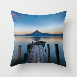 The Dock Sunset (Color) Throw Pillow