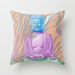 Glitch Buddha Throw Pillow