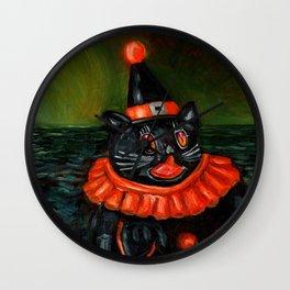 Black Cat Clown Wall Clock