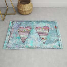 Sewn Paper Collage Hearts Rug