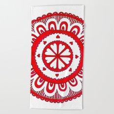 Love#5 - Red Heart Pattern Beach Towel