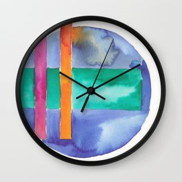 180818 Geometrical Watercolour 7| Colorful Abstract | Modern Watercolor Art Wall Clock