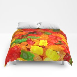 red orange yellow colorful gummy bear Comforters
