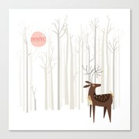 silver Canvas Prints featuring Reindeer of the Silver Wood by Poppy & Red