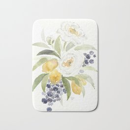 Watercolor Flowers with Blueberries Bath Mat