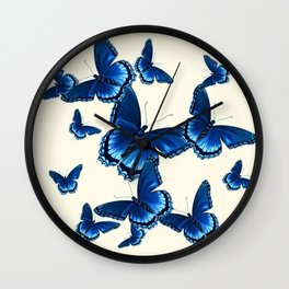 DECORATIVE PATTERNED BLUE  BUTTERFLY FLOCK Wall Clock