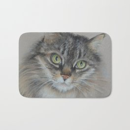 Tabby cat Maine Coon portrait Pastel drawing on the grey background Bath Mat