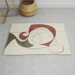 Minimalist Abstract Art Shapes - Scribbles Earth Red 1 Rug