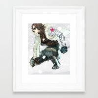 winter soldier Framed Art Prints featuring winter soldier by MacheteJo
