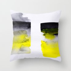 Black and Yellow abstract Throw Pillow