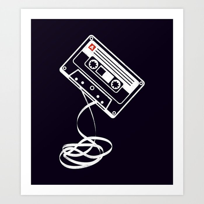 Cassette Tape Audio Analog Old School Music Geek Vintage Design Art Print  by geardesignworks