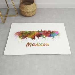 Madison skyline in watercolor Rug