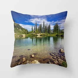 Mountain Lake in the Mt Rainier National Park Throw Pillow