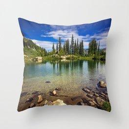 Mountain Lake in the Mt Rainier National Park Throw Pillow