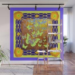 Decorative Butterflies Blue-Gold Patterns Floral Wall Mural