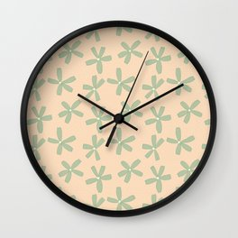 Green & Pink Floral Wall Clock