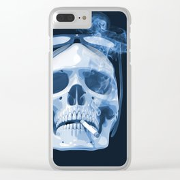 Skull Smoking Cigarette Blue Clear iPhone Case