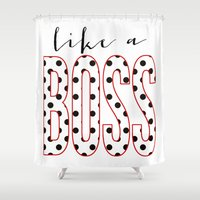 boss Shower Curtains featuring Boss by OhSoFabulous