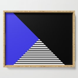 Blue & Black Geometric Abstraction Serving Tray