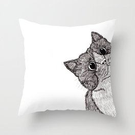 Astonishment Cat Throw Pillow