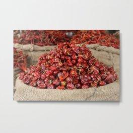 Red Hot Chillies Basket - Asia Market  Metal Print