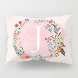 Flower Wreath with Personalized Monogram Initial Letter J on Pink Watercolor Paper Texture Artwork Pillow Sham