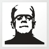 frankenstein Art Prints featuring Frankenstein by b & c