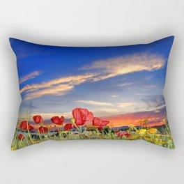 Poppies at sunset Rectangular Pillow