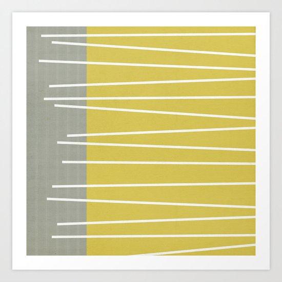 MId century modern textured stripes Art Print