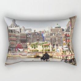 Bike Ride in Amsterdam Rectangular Pillow