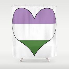 Genderqueer Heart Shower Curtain