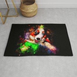 australian shepherd aussie dog puppy splatter watercolor Rug
