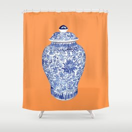 GINGER JAR ON TANGERINE  Shower Curtain