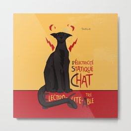 d'Electricité Statique Chat [Staticat] Metal Print
