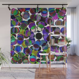 Cluttered Circles III - Abstract, Geometric, Pastel Coloured, Circle Patterned Artwork Wall Mural