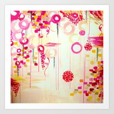 BALLOON LOVE Bubblegum POP! Beautiful Cheerful Bubbles Pretty Pink  Abstract Acrylic Painting Sky Art Print