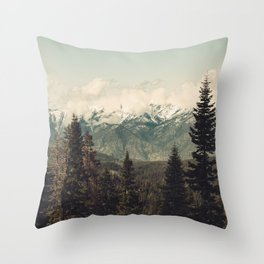 Snow capped Sierras Throw Pillow