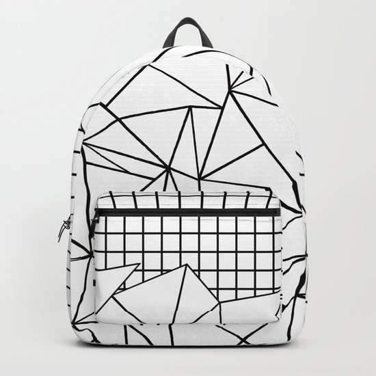 Abstract Grid #2 Black on White Backpack