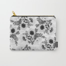 Country rustic black white wood sunflower floral Carry-All Pouch