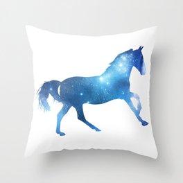 Galaxy Horse Blue Throw Pillow