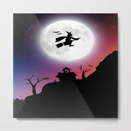 Purple Halloween Witch Silhouette Metal Print