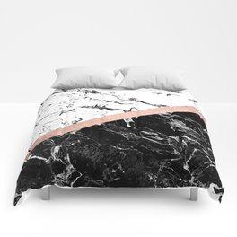 Modern black white marble color block rose gold Comforters