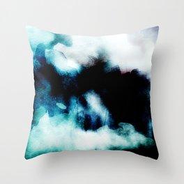 UNBORN - Stylish cobalt watercolor mixture Throw Pillow