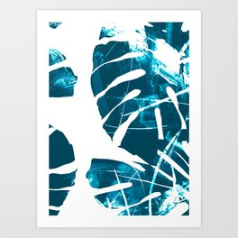 Monstera Leaf Blue Art Print