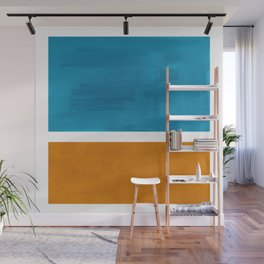 Rothko Minimalist Mid Century Modern Vintage Colorful Pop Art Colorfields Dark Teal Yellow Ochre Wall Mural