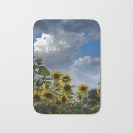 sunflowers and clouds -3- Bath Mat